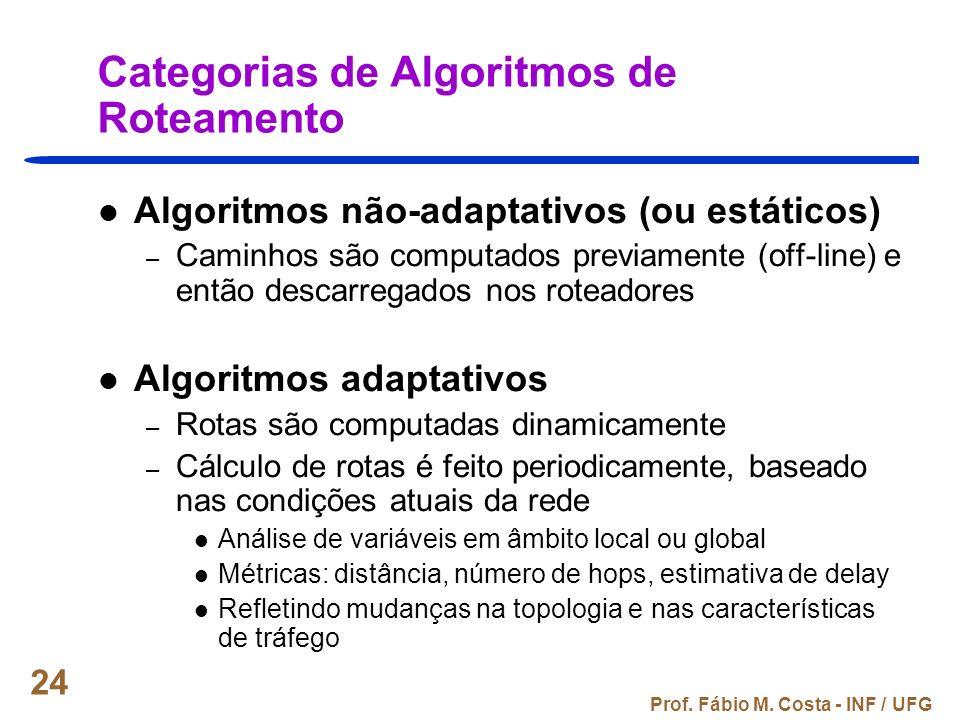 Prof. Fábio M. Costa - INF / UFG 24 Categorias de Algoritmos de Roteamento Algoritmos não-adaptativos (ou estáticos) – Caminhos são computados previam