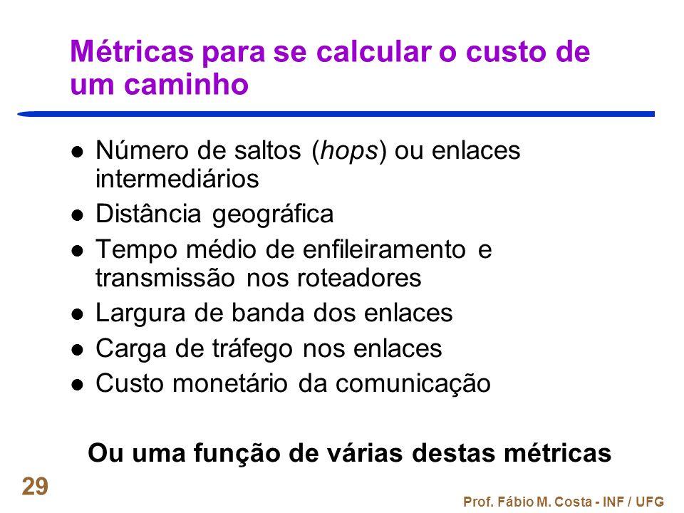 Prof. Fábio M. Costa - INF / UFG 29 Métricas para se calcular o custo de um caminho Número de saltos (hops) ou enlaces intermediários Distância geográ