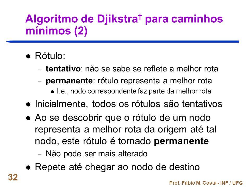 Prof. Fábio M. Costa - INF / UFG 32 Algoritmo de Djikstra para caminhos mínimos (2) Rótulo: – tentativo: não se sabe se reflete a melhor rota – perman
