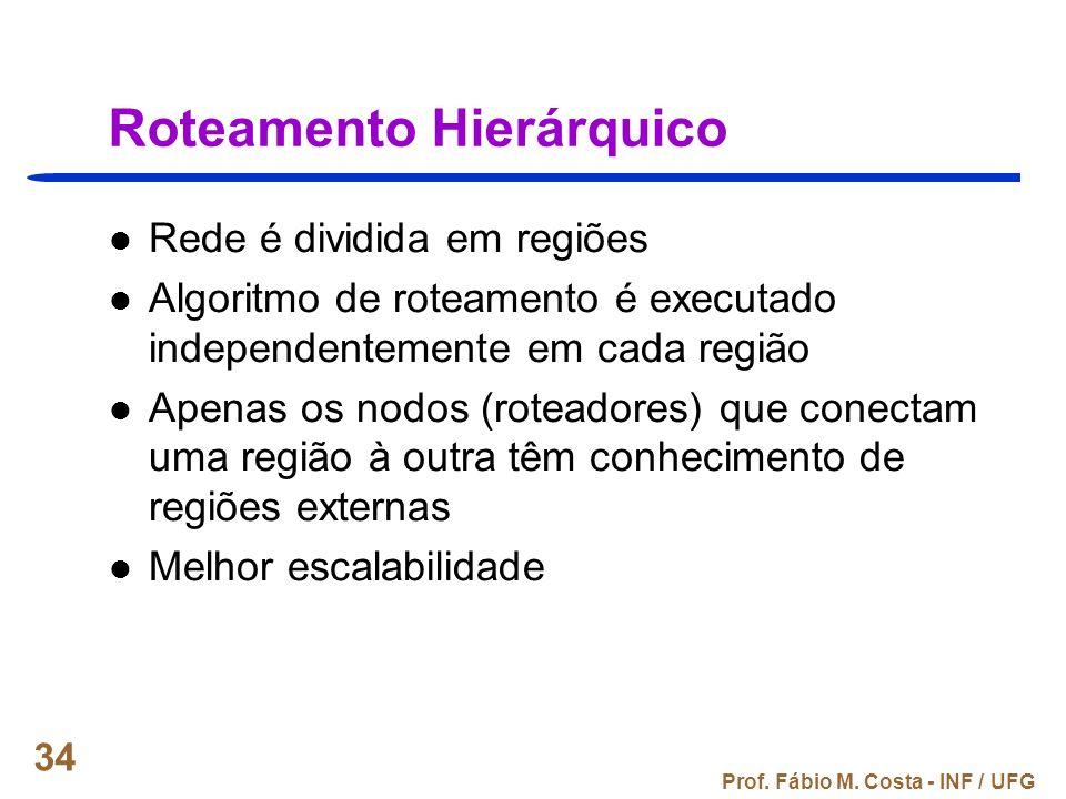 Prof. Fábio M. Costa - INF / UFG 34 Roteamento Hierárquico Rede é dividida em regiões Algoritmo de roteamento é executado independentemente em cada re
