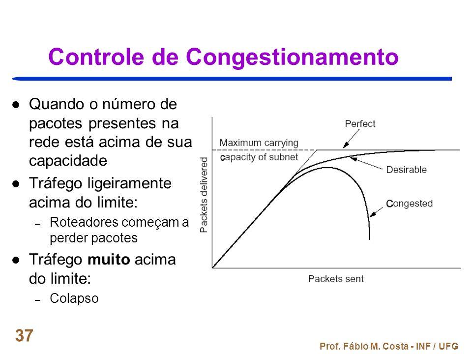 Prof. Fábio M. Costa - INF / UFG 37 Controle de Congestionamento Quando o número de pacotes presentes na rede está acima de sua capacidade Tráfego lig