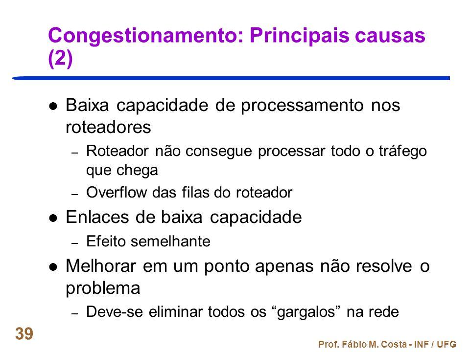 Prof. Fábio M. Costa - INF / UFG 39 Congestionamento: Principais causas (2) Baixa capacidade de processamento nos roteadores – Roteador não consegue p