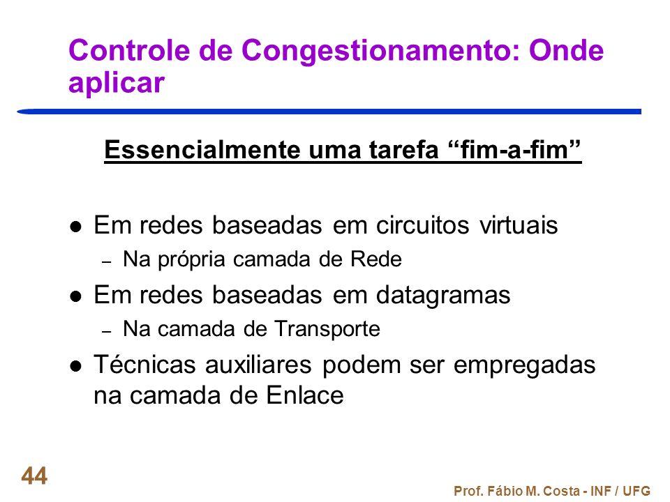 Prof. Fábio M. Costa - INF / UFG 44 Controle de Congestionamento: Onde aplicar Essencialmente uma tarefa fim-a-fim Em redes baseadas em circuitos virt