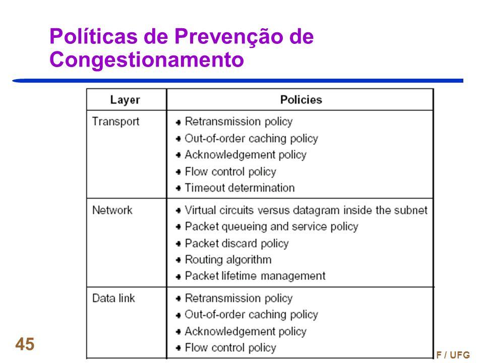 Prof. Fábio M. Costa - INF / UFG 45 Políticas de Prevenção de Congestionamento
