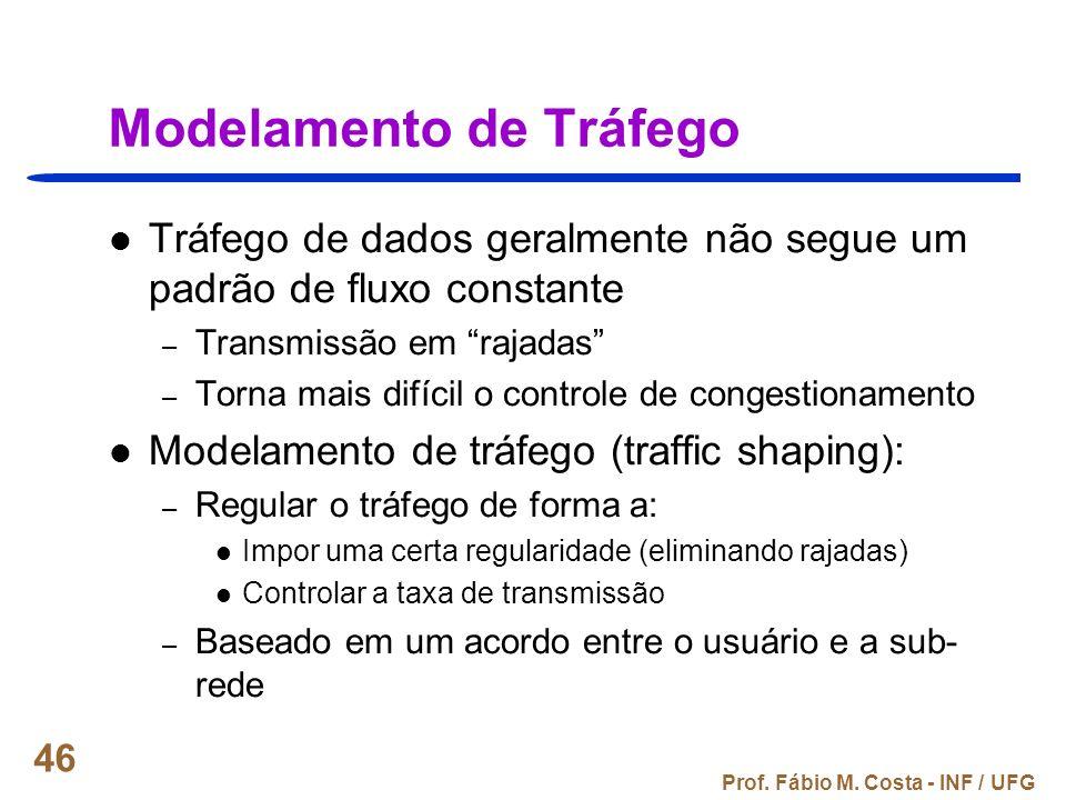 Prof. Fábio M. Costa - INF / UFG 46 Modelamento de Tráfego Tráfego de dados geralmente não segue um padrão de fluxo constante – Transmissão em rajadas