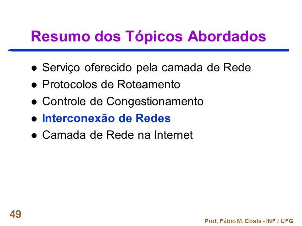 Prof. Fábio M. Costa - INF / UFG 49 Resumo dos Tópicos Abordados Serviço oferecido pela camada de Rede Protocolos de Roteamento Controle de Congestion