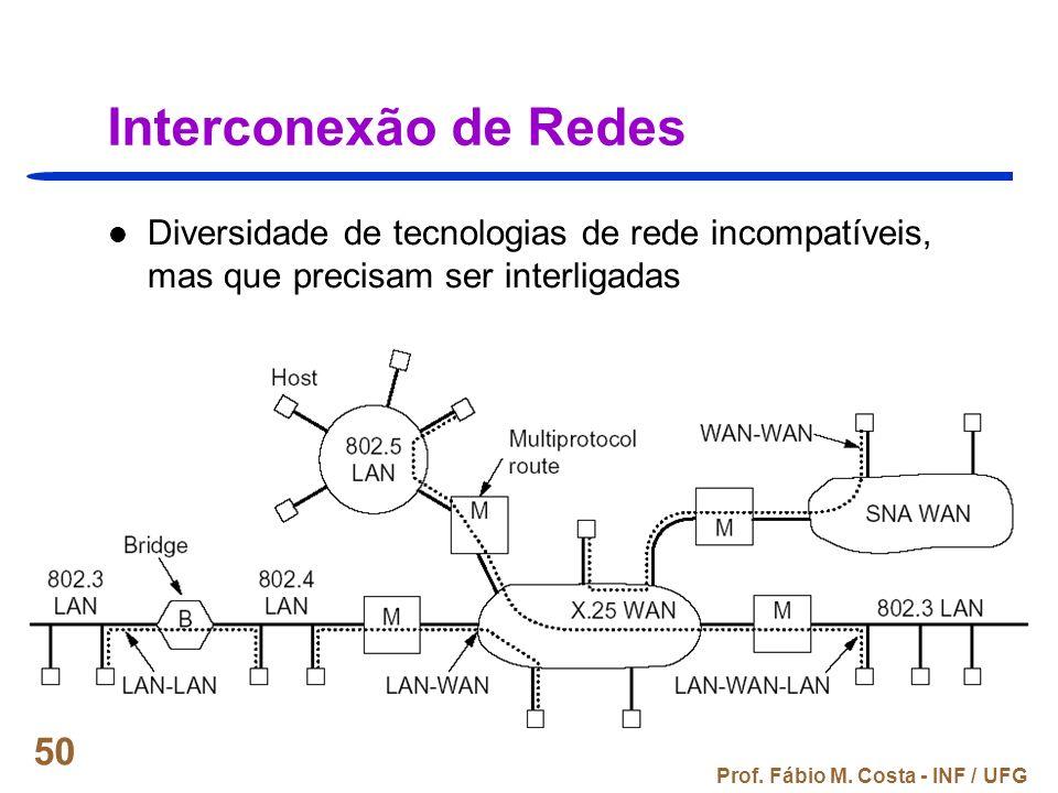 Prof. Fábio M. Costa - INF / UFG 50 Interconexão de Redes Diversidade de tecnologias de rede incompatíveis, mas que precisam ser interligadas