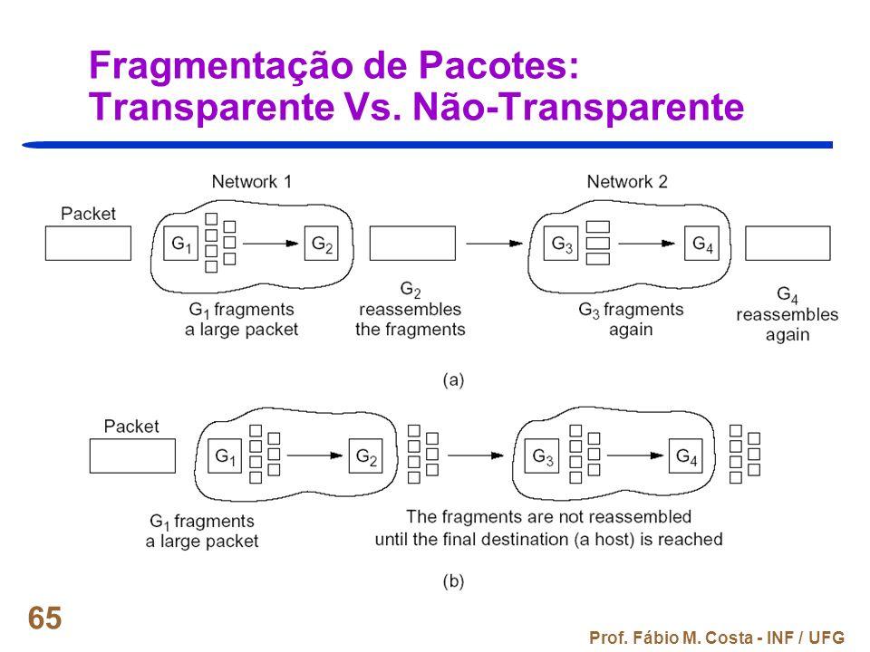 Prof. Fábio M. Costa - INF / UFG 65 Fragmentação de Pacotes: Transparente Vs. Não-Transparente