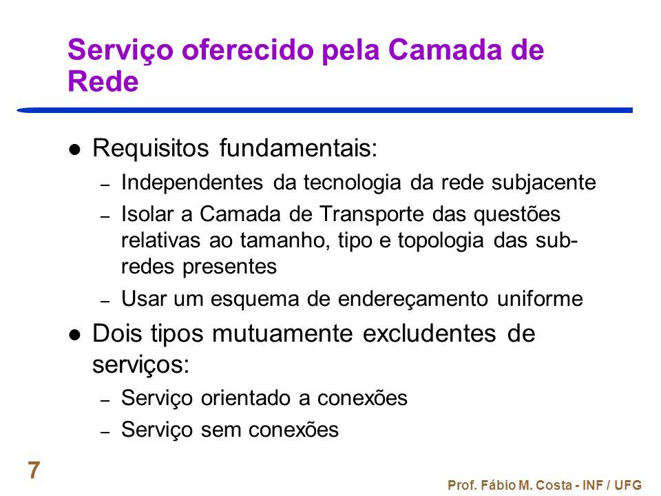 Prof. Fábio M. Costa - INF / UFG 7 Serviço oferecido pela Camada de Rede Requisitos fundamentais: – Independentes da tecnologia da rede subjacente – I
