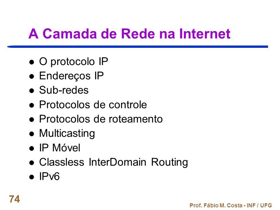 Prof. Fábio M. Costa - INF / UFG 74 A Camada de Rede na Internet O protocolo IP Endereços IP Sub-redes Protocolos de controle Protocolos de roteamento