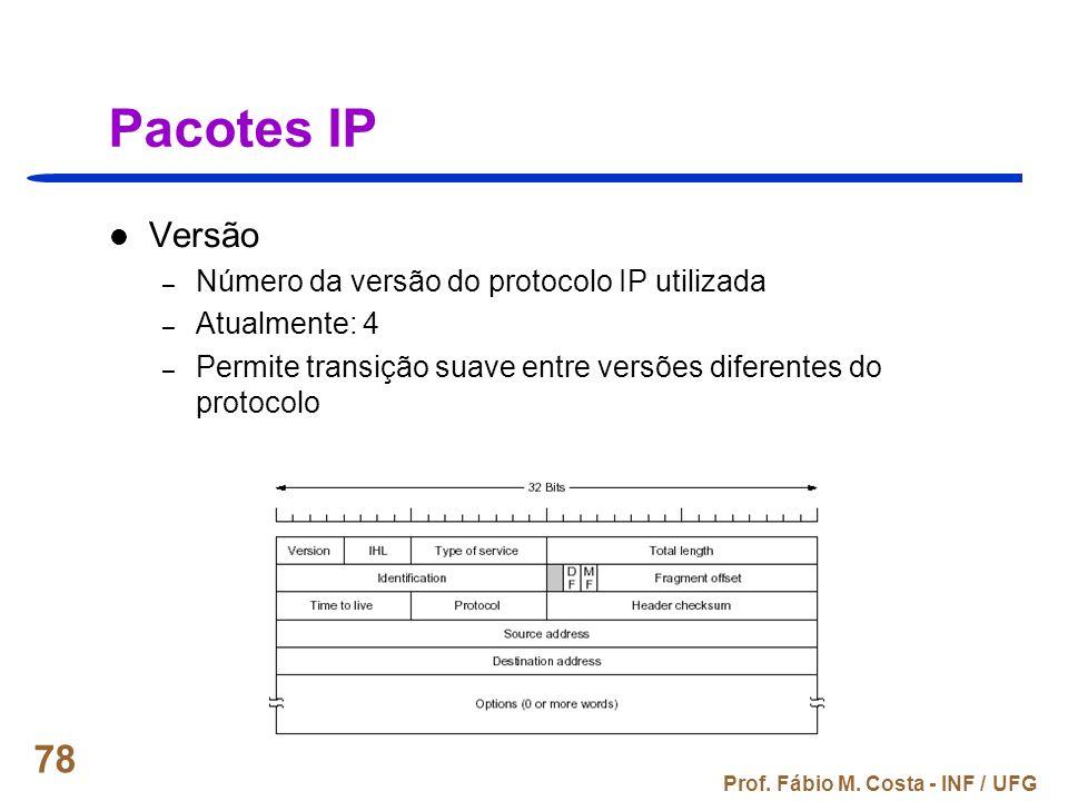 Prof. Fábio M. Costa - INF / UFG 78 Pacotes IP Versão – Número da versão do protocolo IP utilizada – Atualmente: 4 – Permite transição suave entre ver