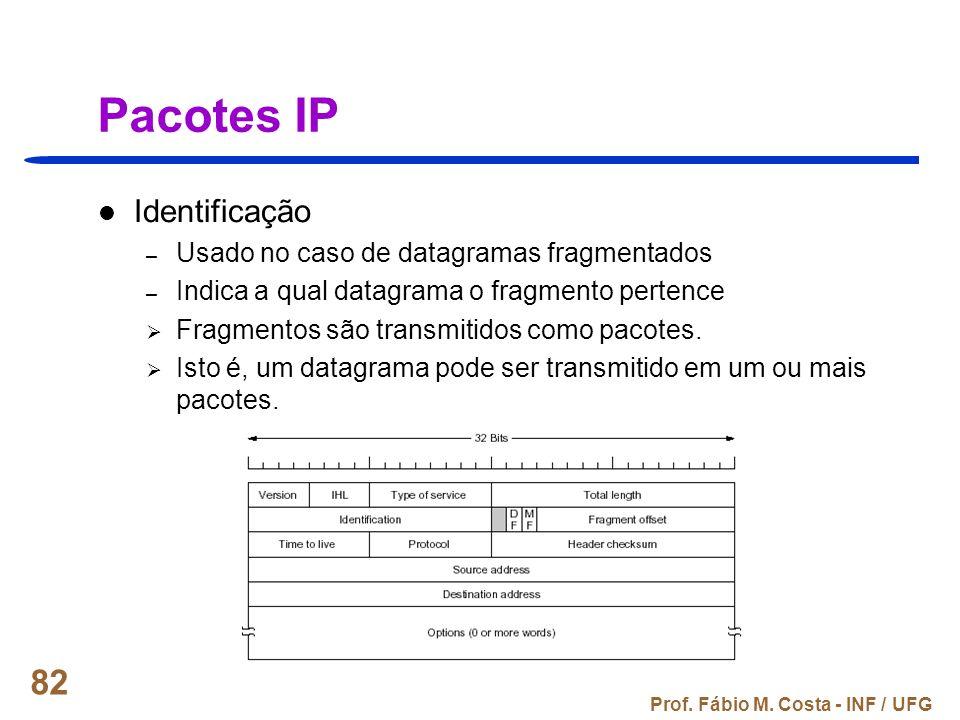 Prof. Fábio M. Costa - INF / UFG 82 Pacotes IP Identificação – Usado no caso de datagramas fragmentados – Indica a qual datagrama o fragmento pertence