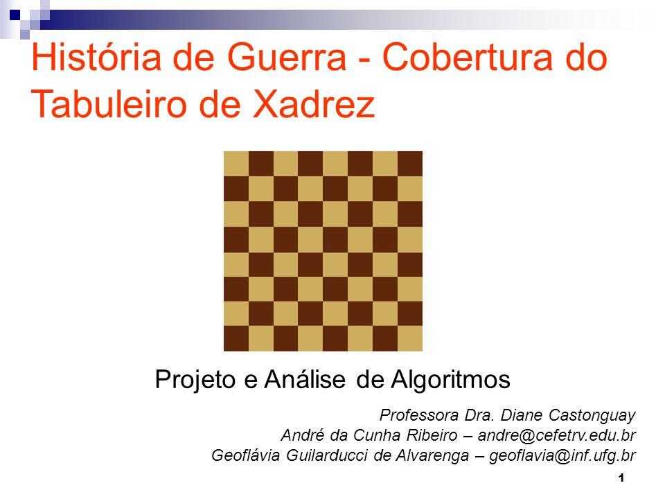 2 Tópicos O jogo de Xadrez Idéias Centrais Problema da cobertura do tabuleiro de xadrez O algoritmo do backtracking Técnica de Podagem (Pruning) Podagem aplicada à História de Guerra Considerações Finais Lição Aprendida