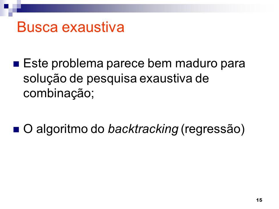 15 Este problema parece bem maduro para solução de pesquisa exaustiva de combinação; O algoritmo do backtracking (regressão) Busca exaustiva