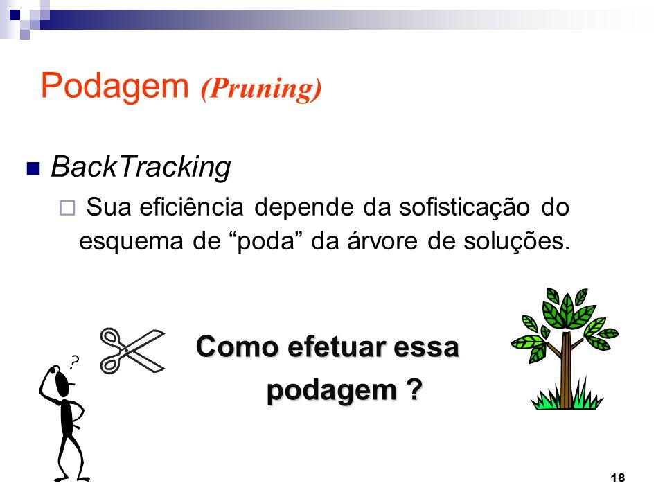 18 BackTracking Sua eficiência depende da sofisticação do esquema de poda da árvore de soluções. Podagem (Pruning) Como efetuar essa podagem ?