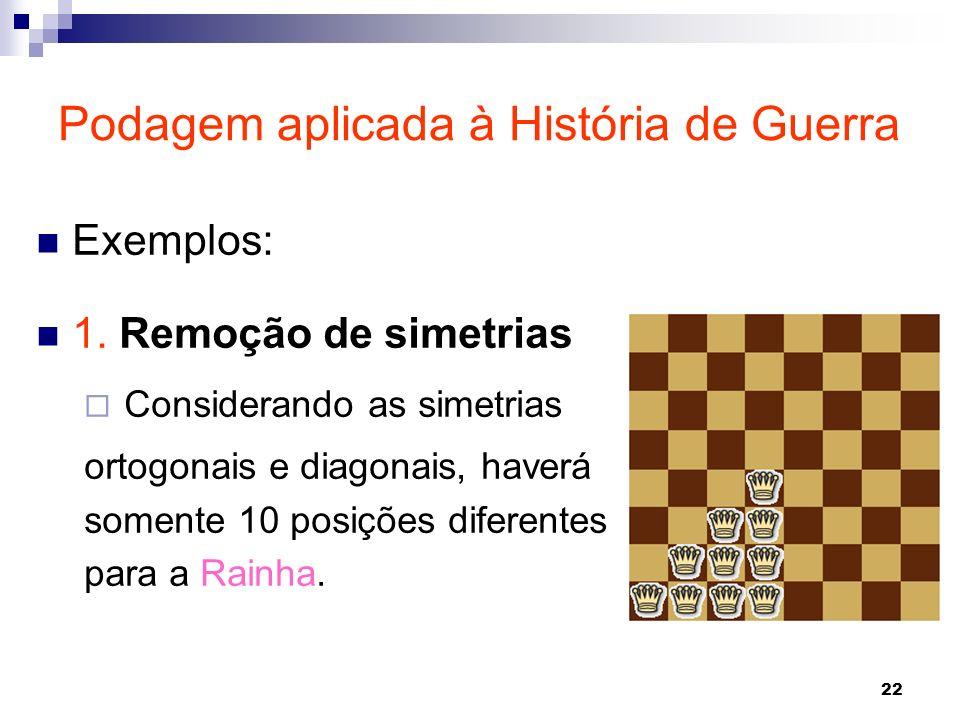22 Exemplos: 1. Remoção de simetrias Considerando as simetrias ortogonais e diagonais, haverá somente 10 posições diferentes para a Rainha. Podagem ap