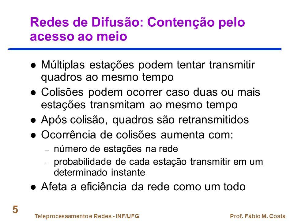 Teleprocessamento e Redes - INF/UFGProf. Fábio M. Costa 16 ALOHA (2) Estação A B C D E