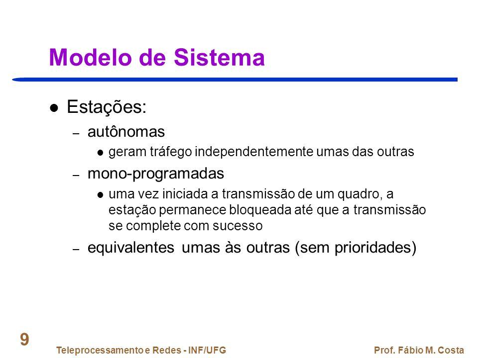Teleprocessamento e Redes - INF/UFGProf. Fábio M. Costa 50 Padrões IEEE 802: Escopo