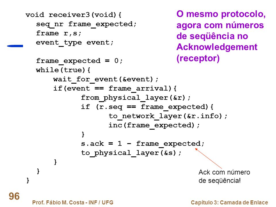 Prof. Fábio M. Costa - INF / UFGCapítulo 3: Camada de Enlace 96 void receiver3(void){ seq_nr frame_expected; frame r,s; event_type event; frame_expect
