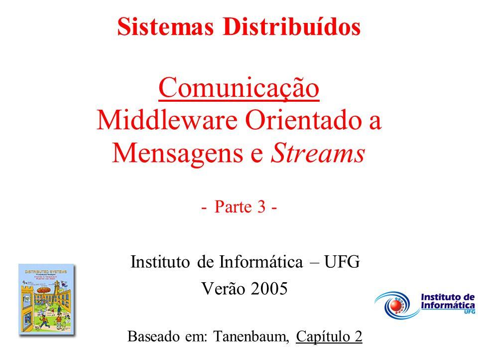 Sistemas Distribuídos Comunicação Middleware Orientado a Mensagens e Streams - Parte 3 - Instituto de Informática – UFG Verão 2005 Baseado em: Tanenba