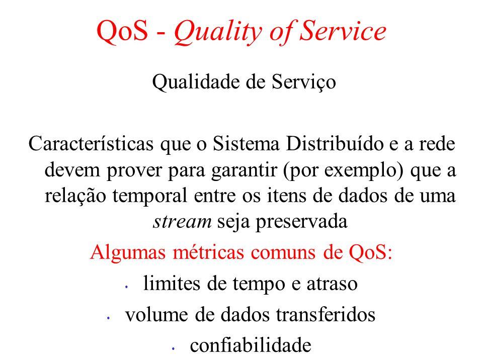 QoS - Quality of Service Qualidade de Serviço Características que o Sistema Distribuído e a rede devem prover para garantir (por exemplo) que a relação temporal entre os itens de dados de uma stream seja preservada Algumas métricas comuns de QoS: limites de tempo e atraso volume de dados transferidos confiabilidade