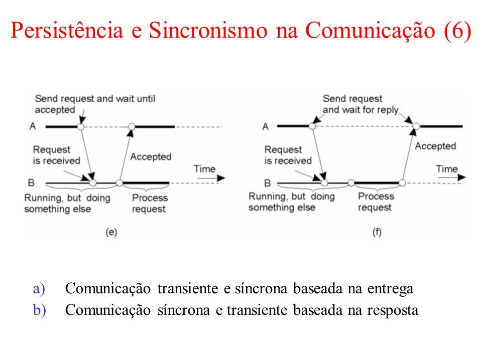 Persistência e Sincronismo na Comunicação (6) a)Comunicação transiente e síncrona baseada na entrega b)Comunicação síncrona e transiente baseada na resposta