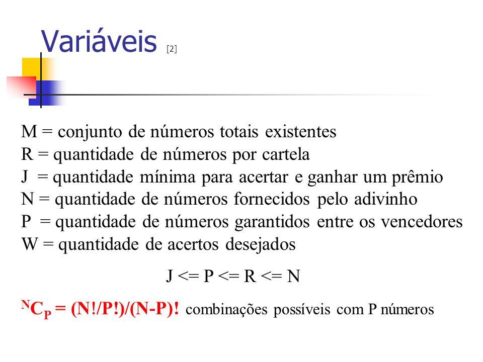 Variáveis [2] M = conjunto de números totais existentes R = quantidade de números por cartela J = quantidade mínima para acertar e ganhar um prêmio N