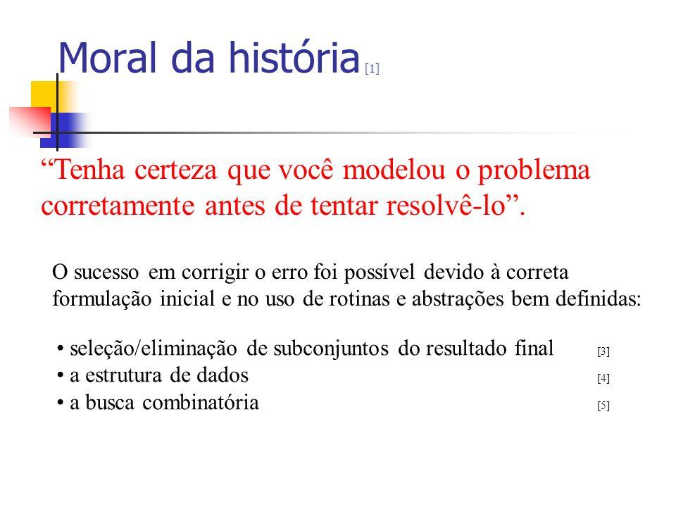 Moral da história [1] Tenha certeza que você modelou o problema corretamente antes de tentar resolvê-lo. O sucesso em corrigir o erro foi possível dev
