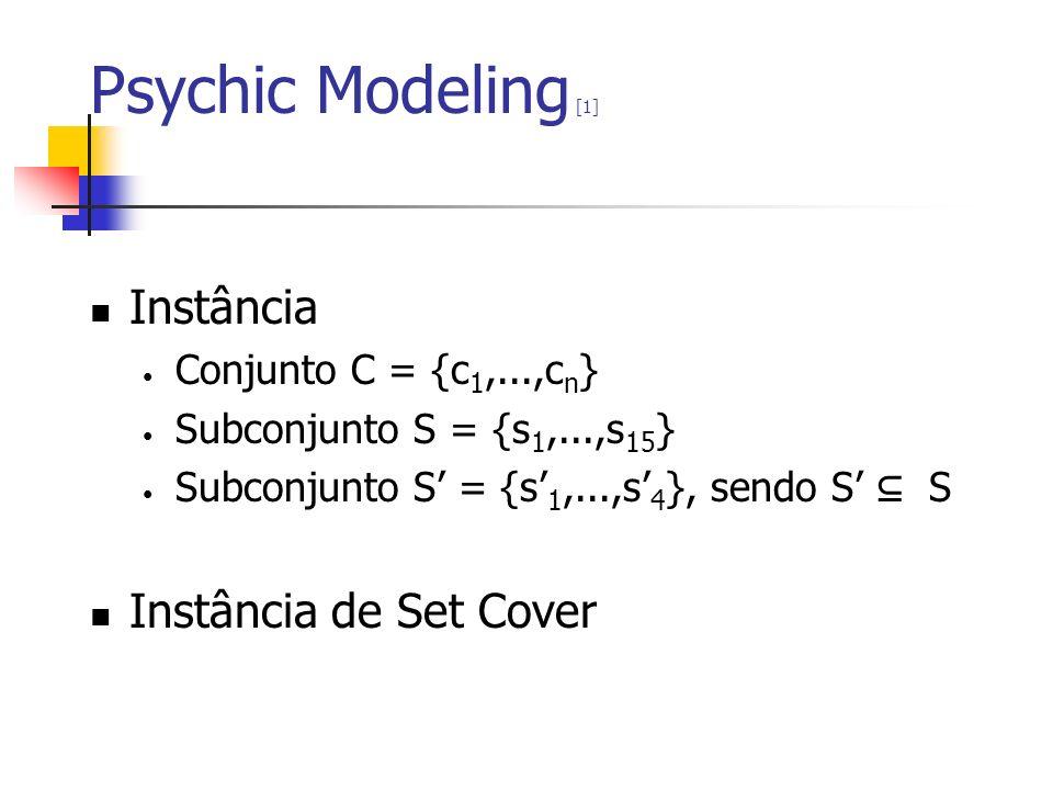 Psychic Modeling [1] Instância Conjunto C = {c 1,...,c n } Subconjunto S = {s 1,...,s 15 } Subconjunto S = {s 1,...,s 4 }, sendo S S Instância de Set