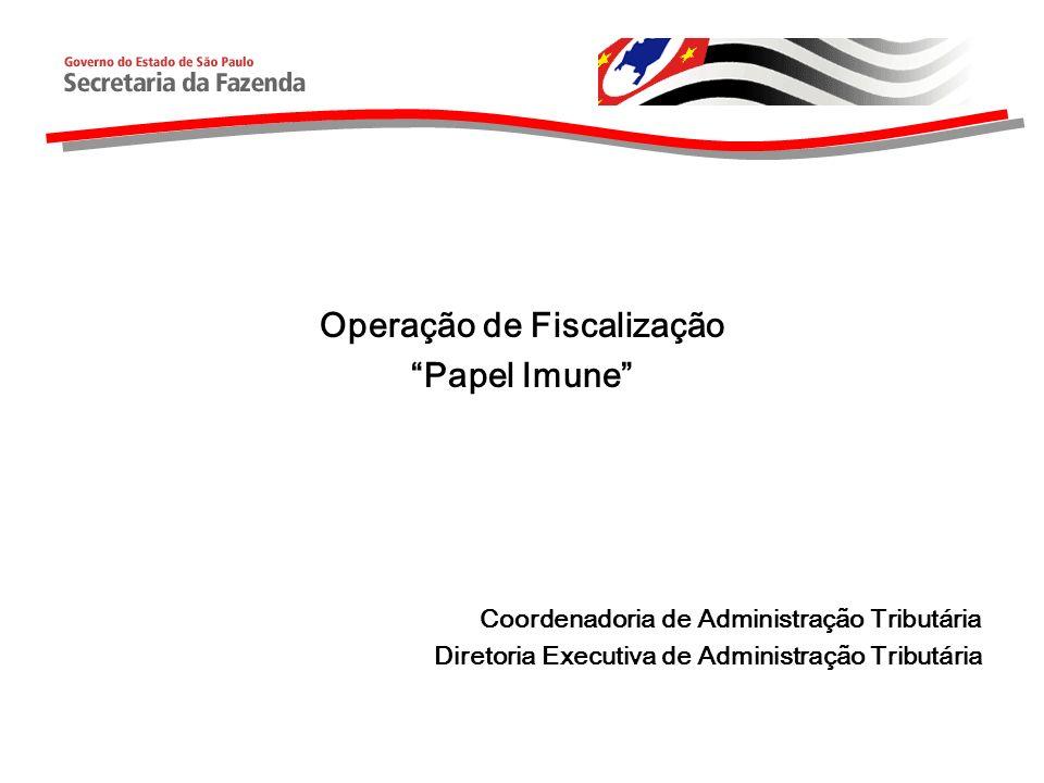 Estrutura da Apresentação Dados sobre a importação do papel Cadeia da distribuição do papel Controles Federais sobre a imunidade do papel Operação de Fiscalização Papel Imune Próximos Passos