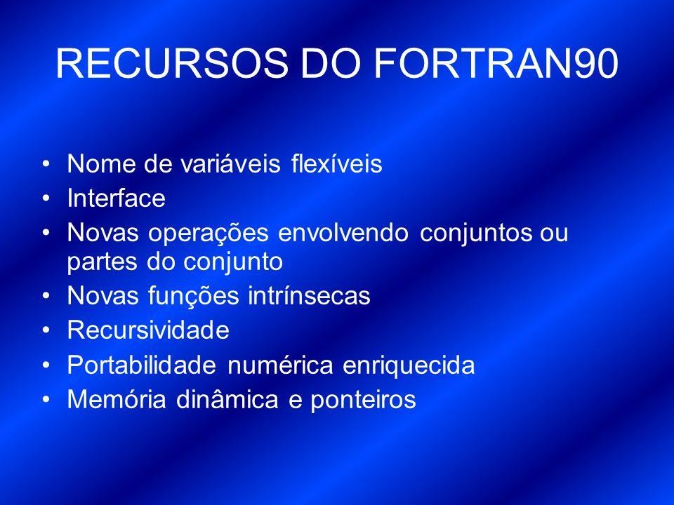 Diferenças entre Fortran 77 e 90 Acessem o site do professor Eduardo e confiram na sessão Fortran.