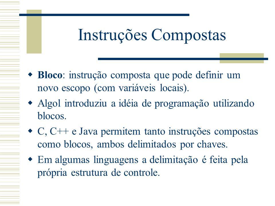 Instruções Compostas Bloco: instrução composta que pode definir um novo escopo (com variáveis locais). Algol introduziu a idéia de programação utiliza