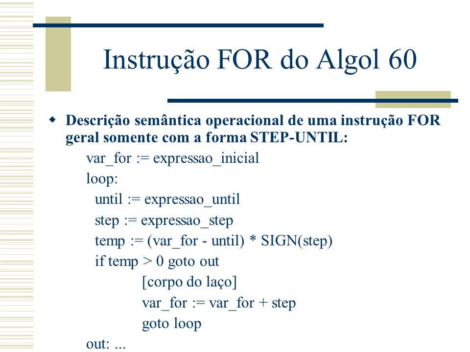 Instrução FOR do Algol 60 Descrição semântica operacional de uma instrução FOR geral somente com a forma STEP-UNTIL: var_for := expressao_inicial loop