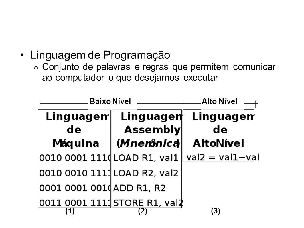 Baixo NívelAlto Nível (1)(2)(3) Linguagem de Programação o Conjunto de palavras e regras que permitem comunicar ao computador o que desejamos executar