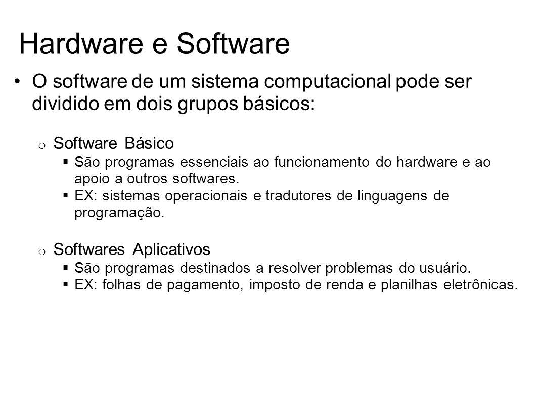 O software de um sistema computacional pode ser dividido em dois grupos básicos: o Software Básico São programas essenciais ao funcionamento do hardwa