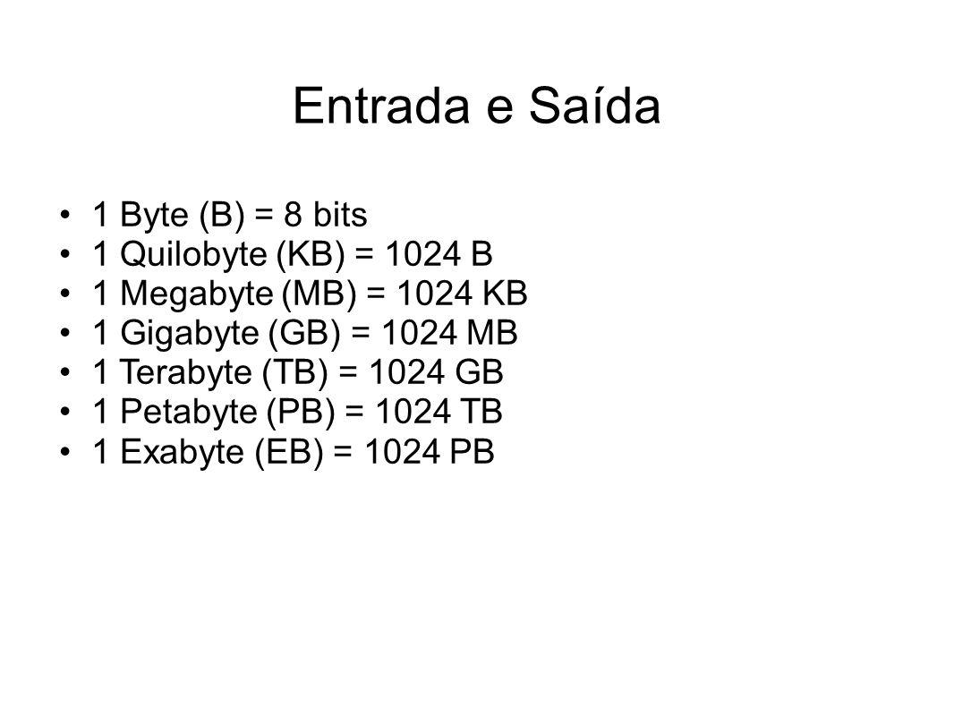 1 Byte (B) = 8 bits 1 Quilobyte (KB) = 1024 B 1 Megabyte (MB) = 1024 KB 1 Gigabyte (GB) = 1024 MB 1 Terabyte (TB) = 1024 GB 1 Petabyte (PB) = 1024 TB