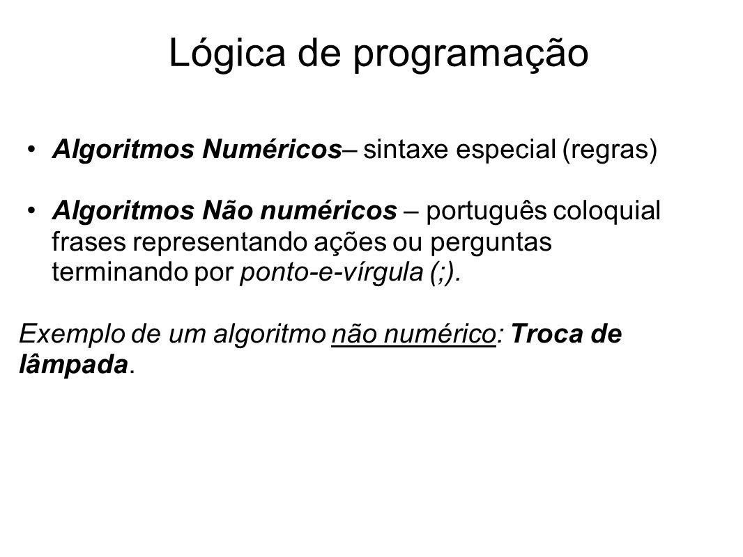 Algoritmos Numéricos– sintaxe especial (regras) Algoritmos Não numéricos – português coloquial frases representando ações ou perguntas terminando por