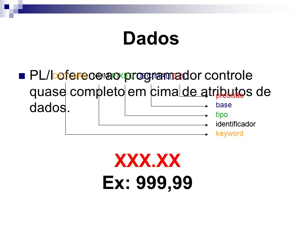 Dados PL/I oferece ao programador controle quase completo em cima de atributos de dados.