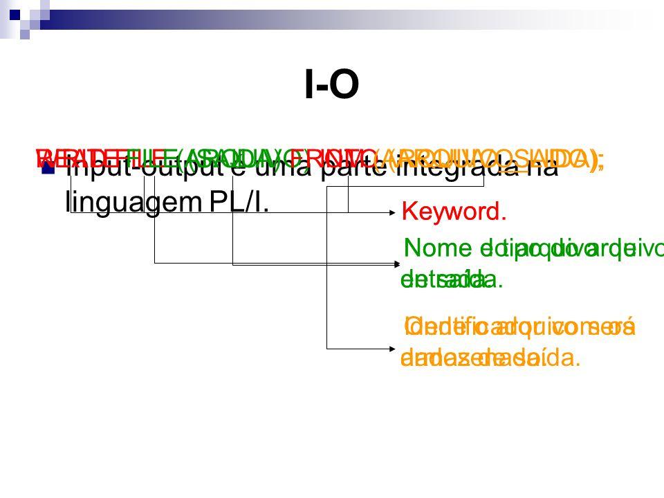 I-O Input-output é uma parte integrada na linguagem PL/I.