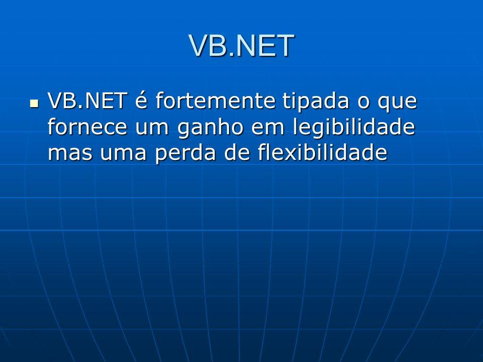 VB.NET VB.NET é fortemente tipada o que fornece um ganho em legibilidade mas uma perda de flexibilidade VB.NET é fortemente tipada o que fornece um ga