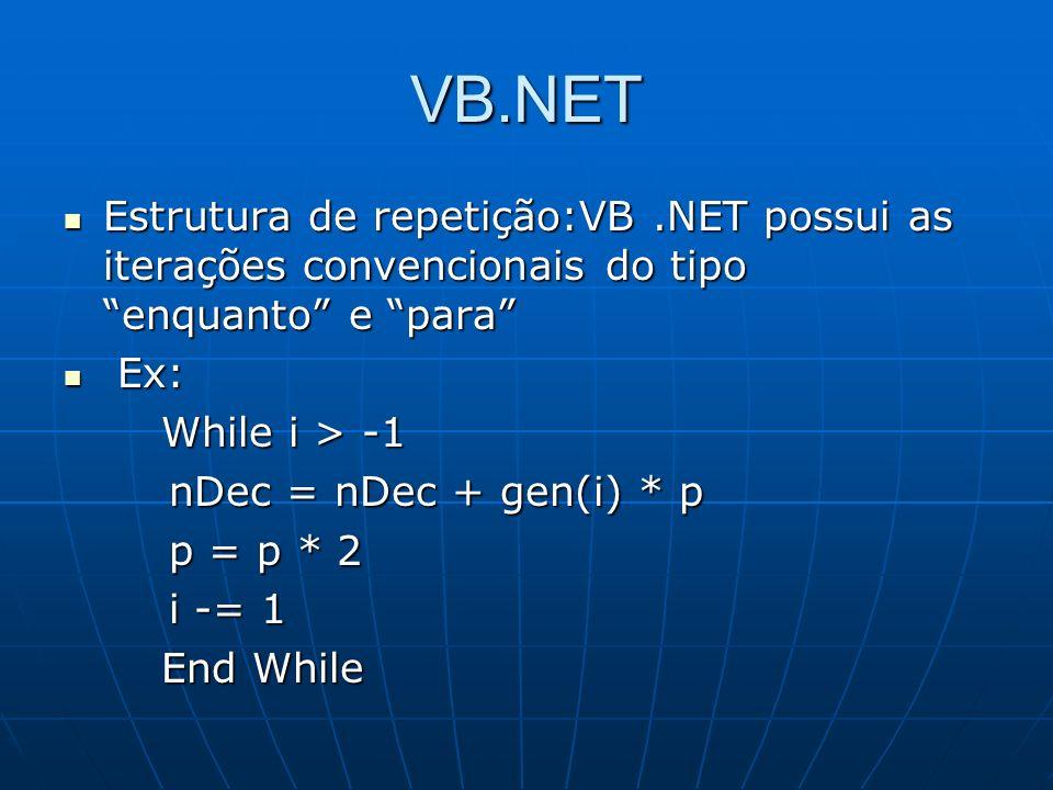 VB.NET Estrutura de repetição:VB.NET possui as iterações convencionais do tipo enquanto e para Estrutura de repetição:VB.NET possui as iterações conve