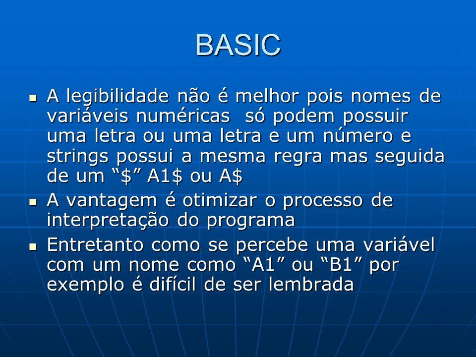 BASIC A legibilidade não é melhor pois nomes de variáveis numéricas só podem possuir uma letra ou uma letra e um número e strings possui a mesma regra
