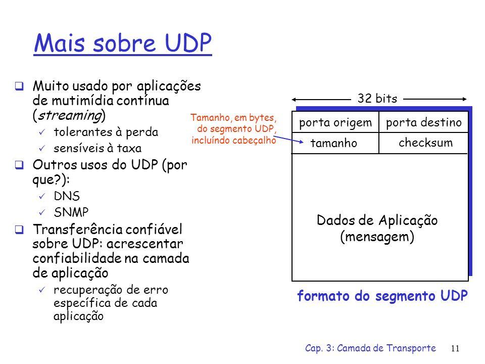 Cap. 3: Camada de Transporte10 UDP: User Datagram Protocol [RFC 768] Protocolo de transporte da Internet sem gorduras, sem frescuras Serviço best effo