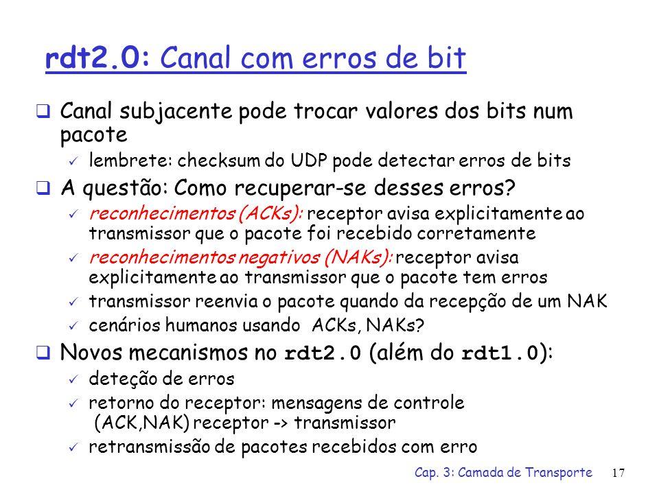 Cap. 3: Camada de Transporte16 rdt1.0: Transferência confiável sobre canais confiáveis canal de transmissão perfeitamente confiável não há erros de bi