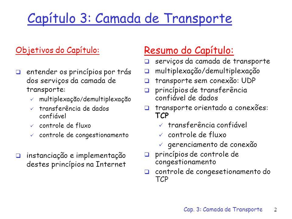Camada de Transporte Teleprocessamento e Redes Instituto de Informática – UFG Prof. Fábio M. Costa (slides baseados em [Kurose&Ross2003])