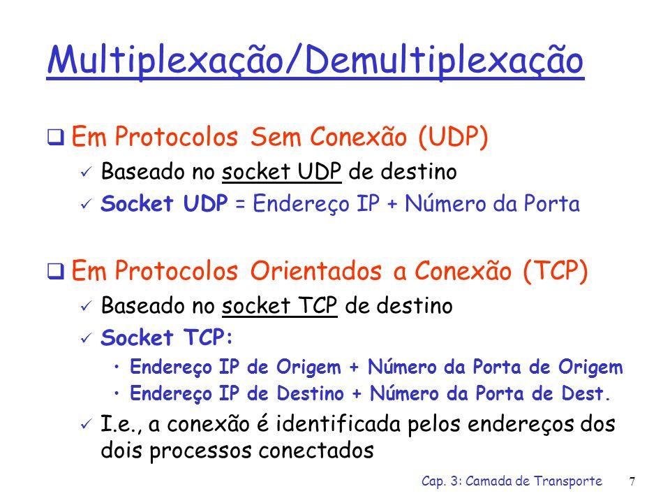 Cap. 3: Camada de Transporte6 Multiplexação / Demultiplexação Multiplexação/demultiplexação: baseadas no número de porta do transmissor, número de por