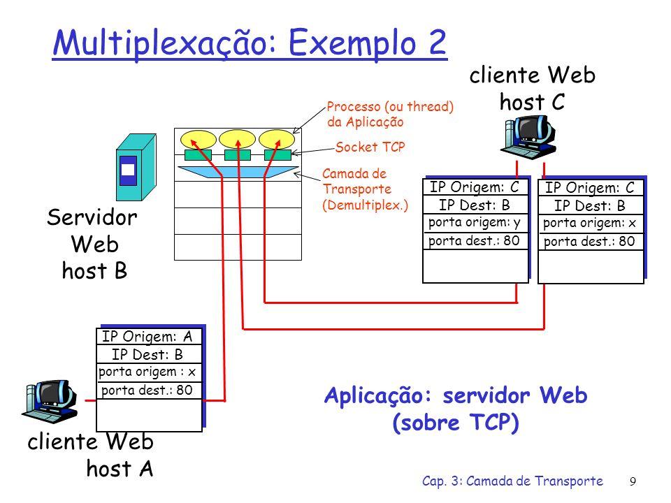 Cap. 3: Camada de Transporte8 Multiplexação: Exemplo 1 host A servidor B porta origem: x porta dest.: 53 porta origem:53 port dest.: x Aplicação: DNS