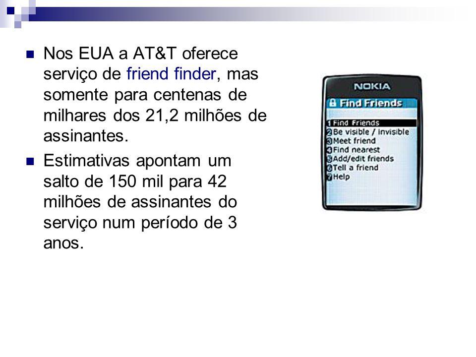 Nos EUA a AT&T oferece serviço de friend finder, mas somente para centenas de milhares dos 21,2 milhões de assinantes. Estimativas apontam um salto de