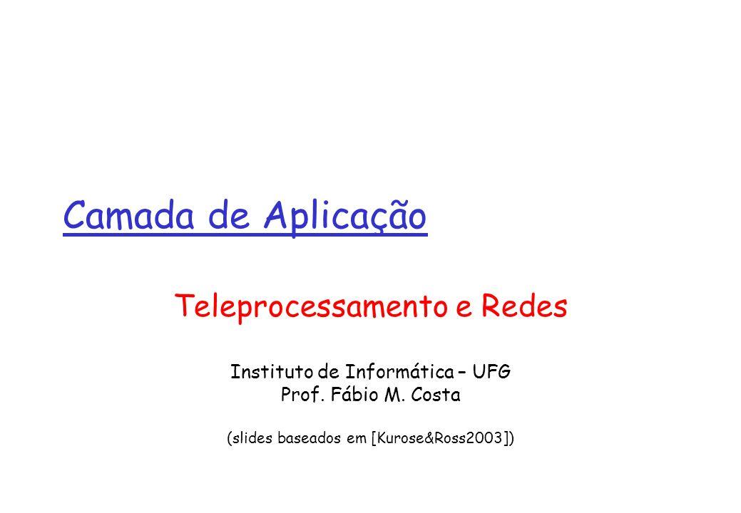 Camada de Aplicação Teleprocessamento e Redes Instituto de Informática – UFG Prof. Fábio M. Costa (slides baseados em [Kurose&Ross2003])