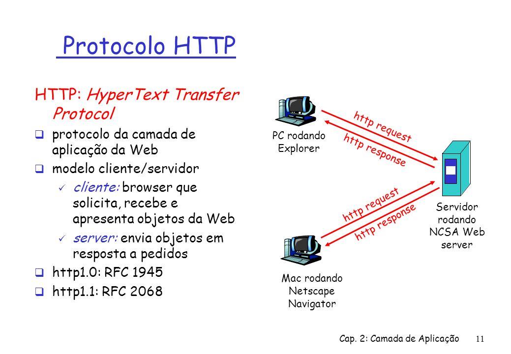 Cap. 2: Camada de Aplicação11 Protocolo HTTP HTTP: HyperText Transfer Protocol protocolo da camada de aplicação da Web modelo cliente/servidor cliente